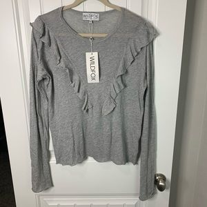 Wildfox couture long sleeve ruffle front size LG
